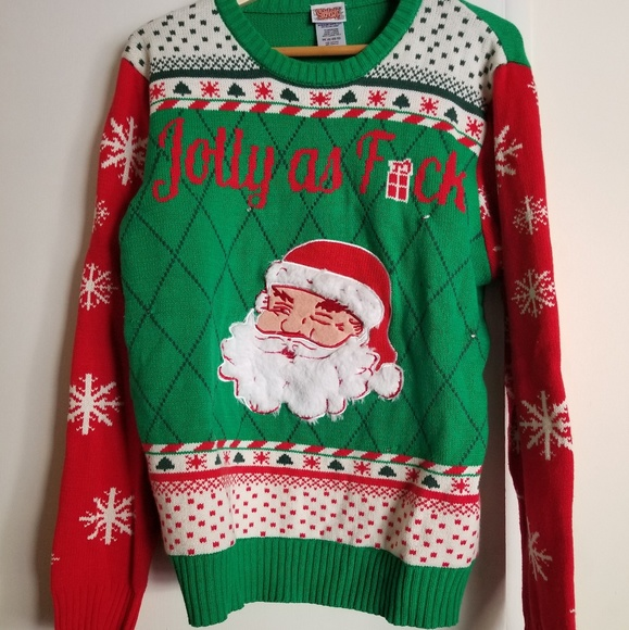 Ugly Christmas sweater size Large. Jolly as fuck